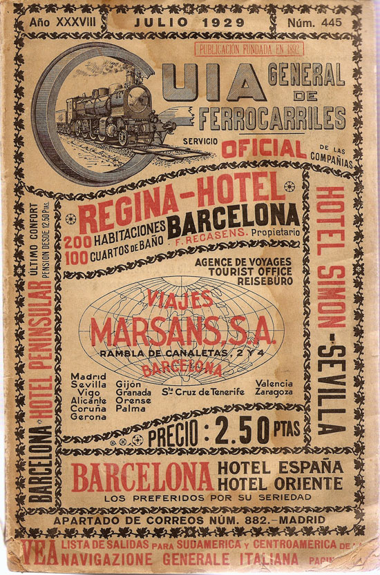 Spanish Railways Timetable Guide from 1929 Vintage Typography Design