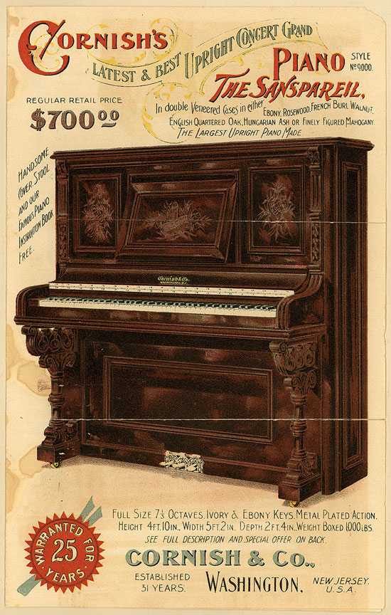 Cornish and Co. Piano Ad Vintage Typography Design