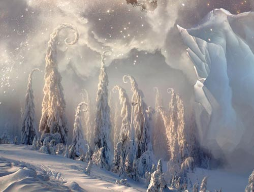 Christmas Night. Magic scene with flying Santa Photoshop Tutorial