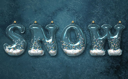 Glossy Snow Globe Text Effect Photoshop Tutorial