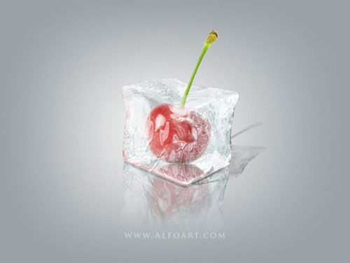 Ice Cube with cherry inside Photoshop Tutorial