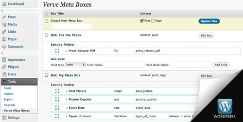 Verve Meta Boxes WordPress Plugin