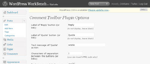Comment toolbar wordpress plugin