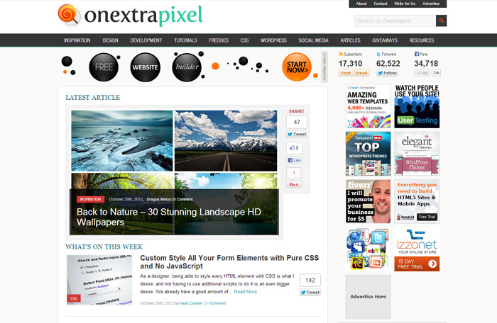 onextrapixel.com Web Design Blog