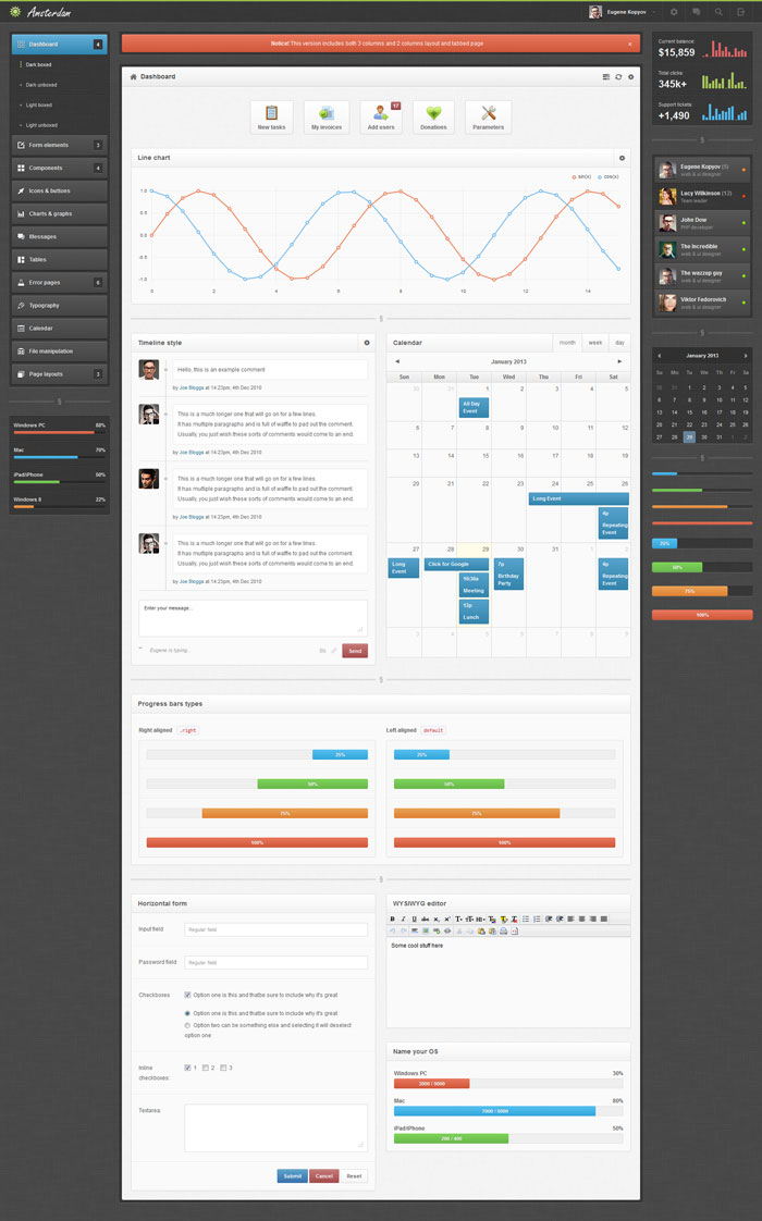 Amsterdam Admin Template Dashboard Inspiration