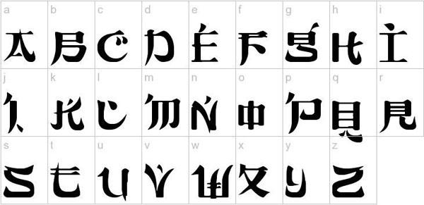 Asian font styles postscript