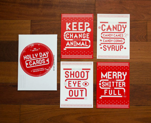 Holly Day Cards Print Design Inspiration