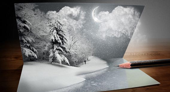 christmas_card 91 Photoshop Photo Manipulation Tutorials: Become A Pro