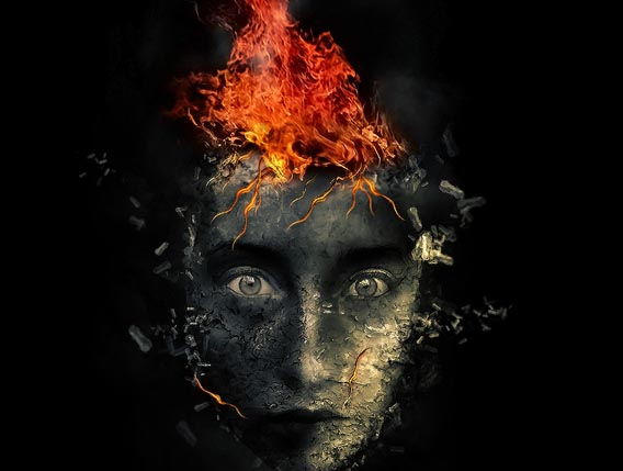 create-surreal-human-face-with-flame-hai 91 Photoshop Photo Manipulation Tutorials: Become A Pro