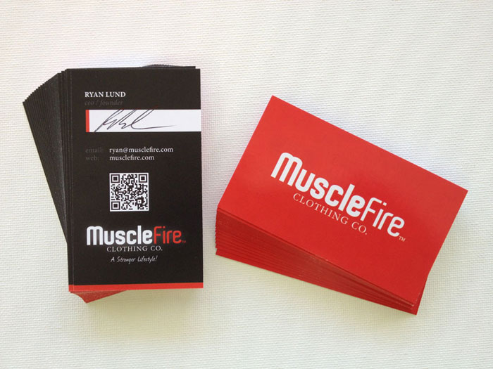 MuscleFire Black Business Card