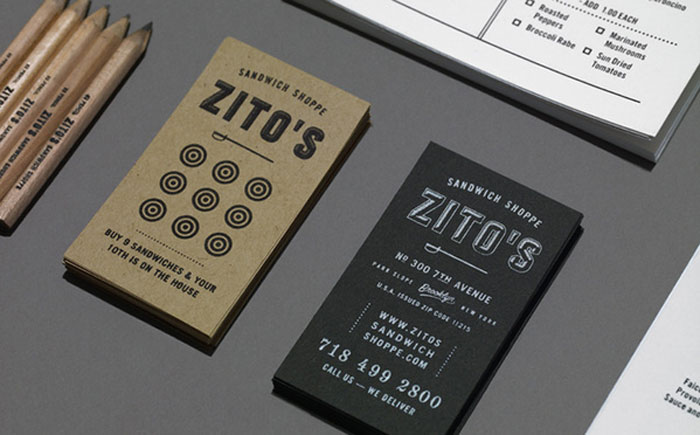 Zito's Sandwich Branding Black Business Card