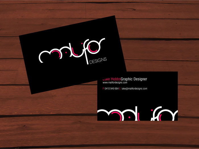 Malifor Designs Black Business Card