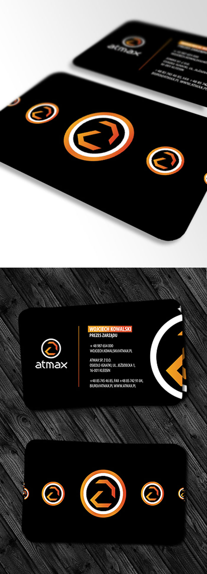 Atmax business card Black Business Card