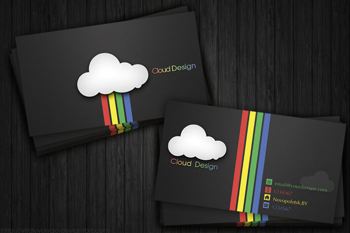 Cloud Design Black Business Card