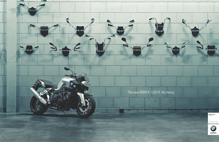 The new BMW K 1200 R. No mercy Print Advertisement