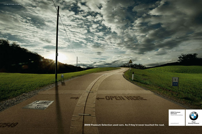 BMW Premium Selection used cars. As if they'd never touched the road Print Advertisement