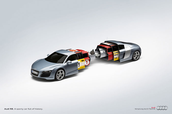 Audi R8. A sporty car full of history Print Advertisement