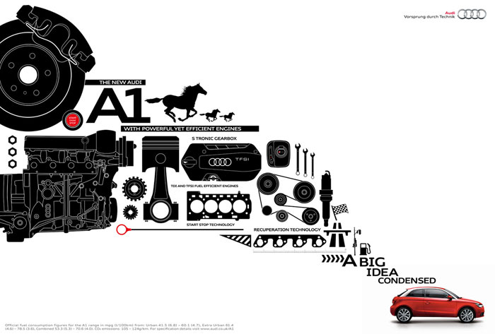 The New Audi A1. With powerful yet efficient engines Print Advertisement