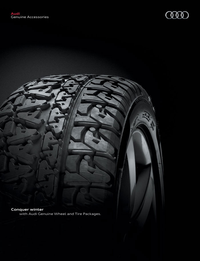 Conquer winter, with Audi Genuine Wheel and Tire Packages Print Advertisement