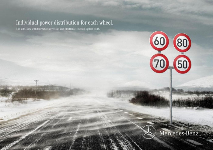 Individual power distribution for each wheel Print Advertisement