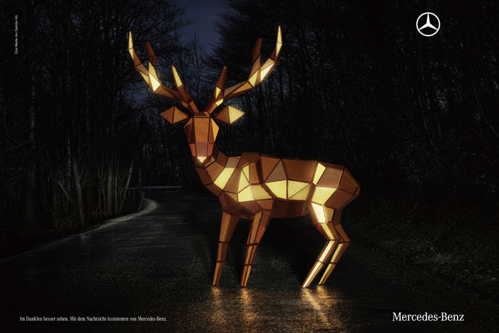 See better in the dark. The night vision assistant of Mercedes-Benz Print Advertisement