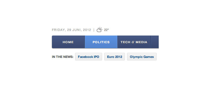 News navigation User Interface Design Inspiration