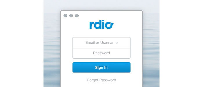 Rdio Sign In User Interface Design Inspiration