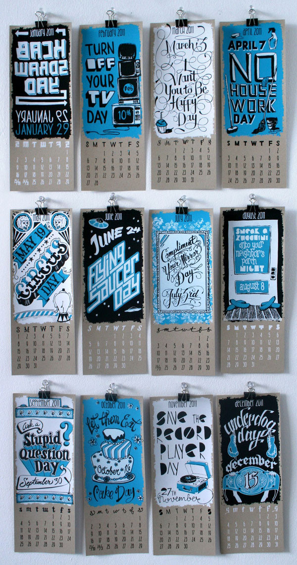 Calendar Typography : Incredible calendars created by talented designers