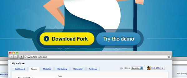 fork-cms.com Call to action button