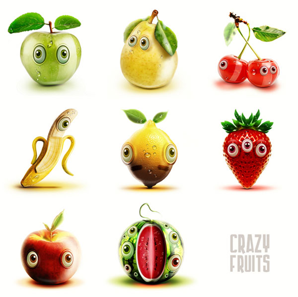 Crazy fruits Character Design Inspiration