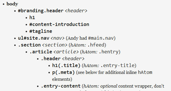 HTML5 id/class name cheatsheet
