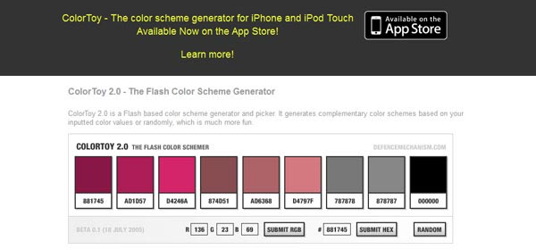 ColorToy 2.0 - The Flash Color Scheme Generator
