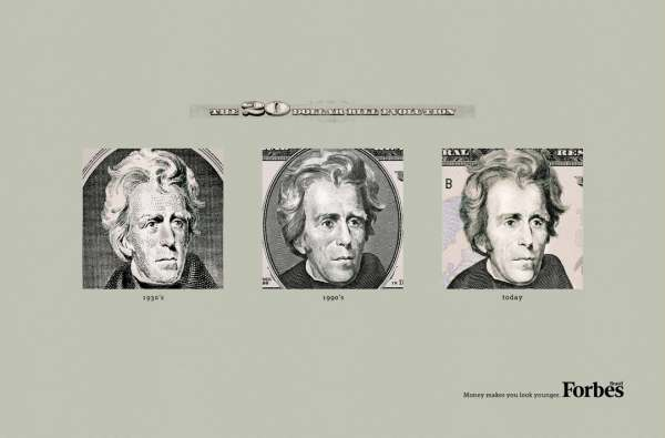 Money makes you look younger Print Ad Inspiration