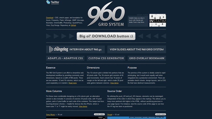 960.gs Popular CSS Library