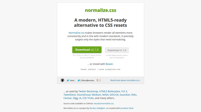 Normalize.css Popular CSS Library