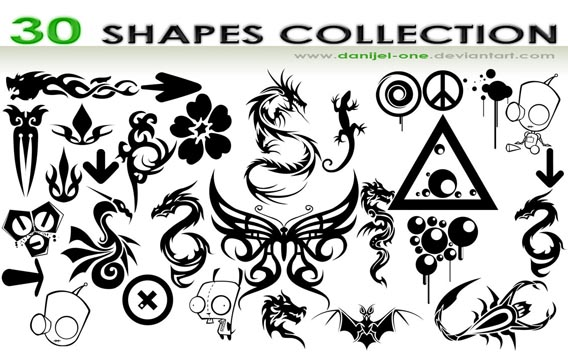 30 SHAPES COLLECTION Photoshop custom shape