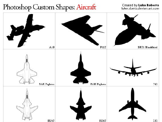 Aircraft Photoshop custom shape
