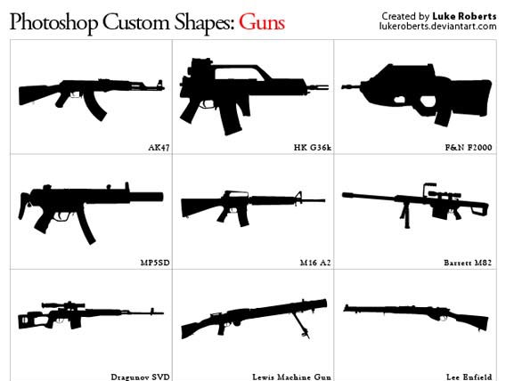 Guns Updated Photoshop custom shape