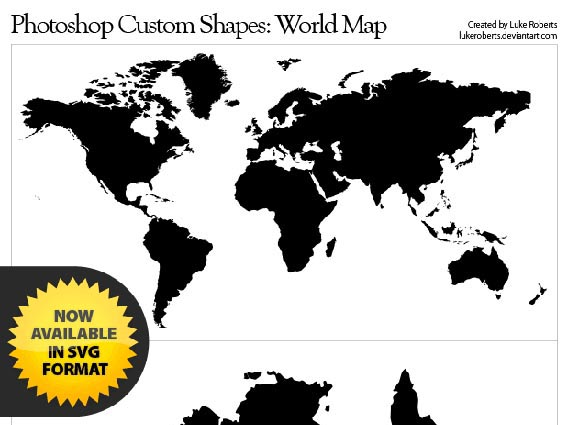World Map Photoshop custom shape