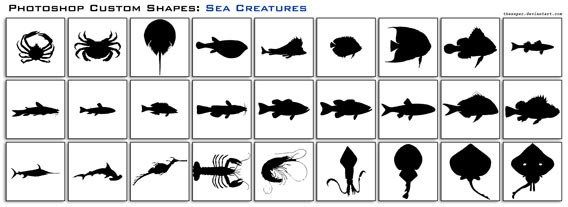 Sea Creatures Photoshop custom shape