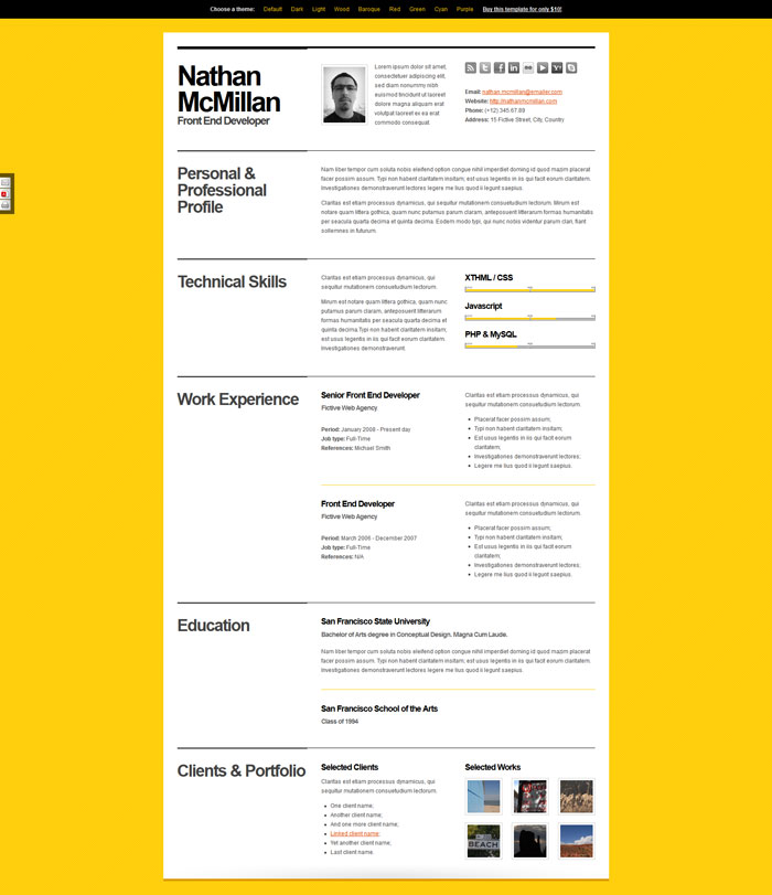A Few Interesting Resume/CV Website Designs