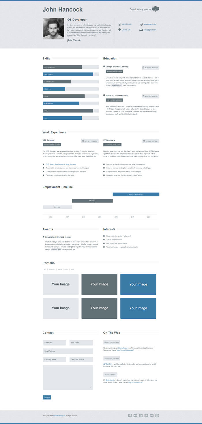 resume Business Resume Design a few interesting resumecv website designs cleanbusiness html designs