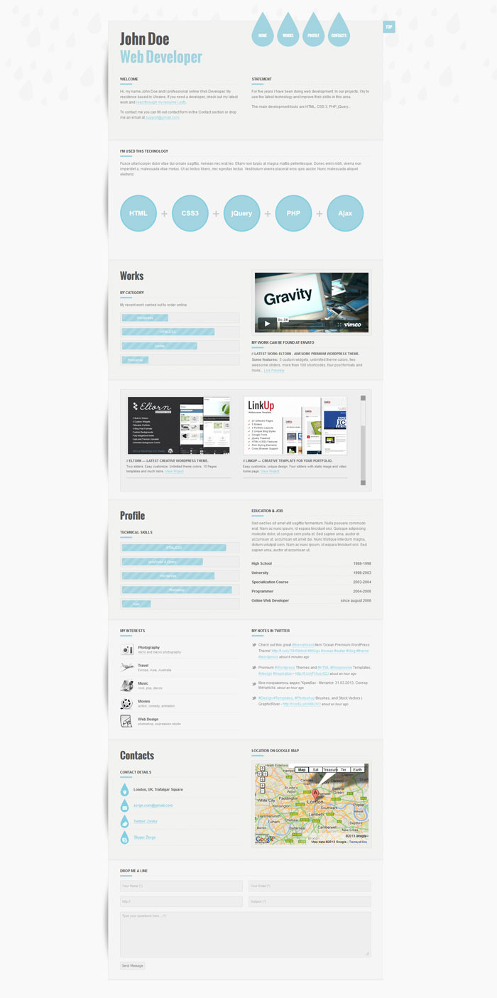 A Few Interesting Resume/CV Website Designs