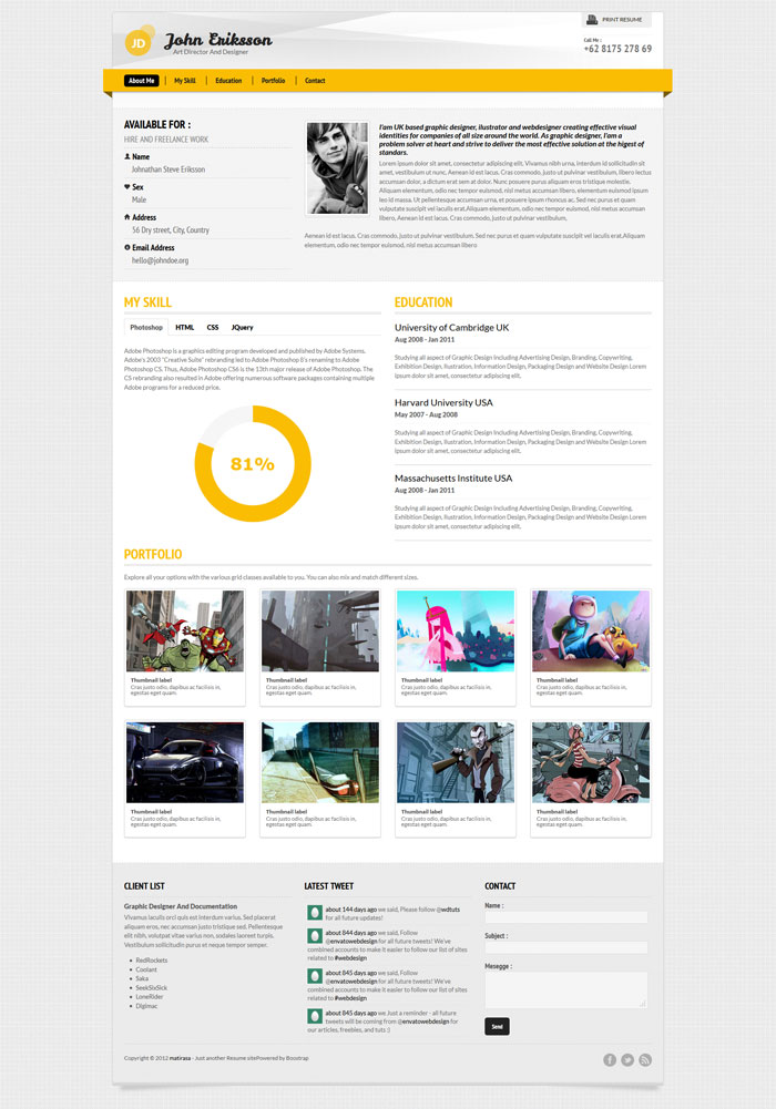Devito A Few Interesting Resume/CV Website Designs  Resume Website Design