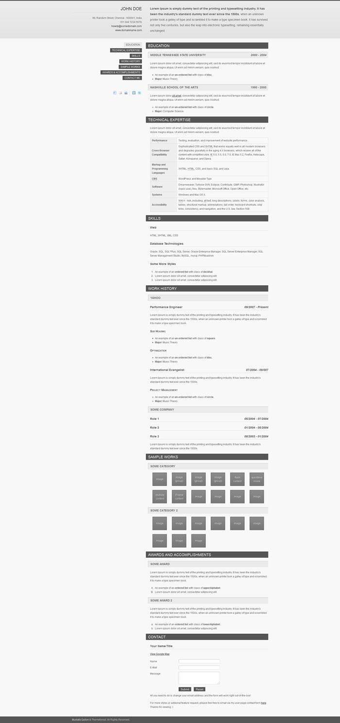 website design resume