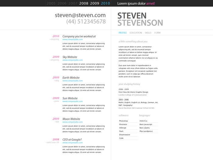 a few interesting resumecv website designs