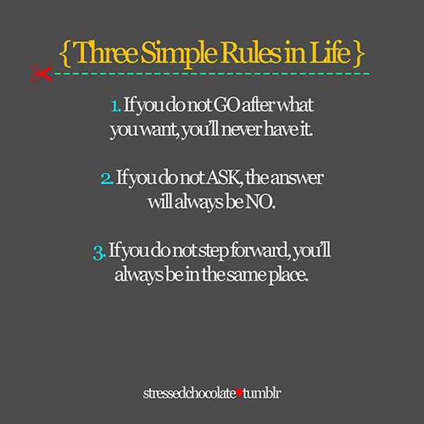 Three simple rules in life inspirational quote
