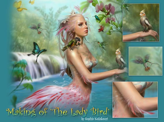 Making of The Lady Bird Digital Painting Tutorial