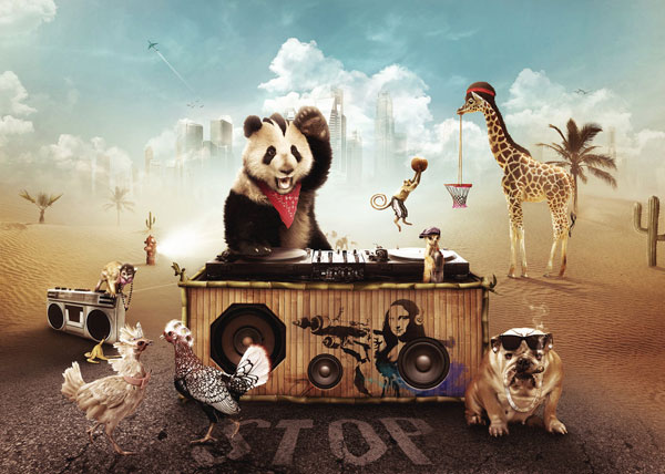 Party Animals Photoshop Design Inspiration