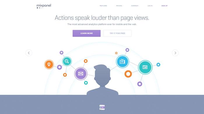mixpanel.com Flat Web Design Inspiration